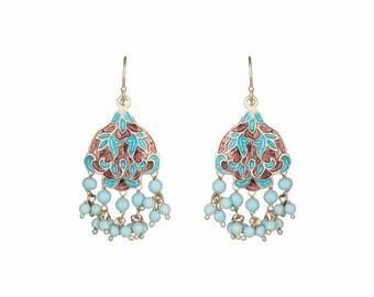 Turquoise Blue Sterling Silver Handmade Hook Earring - Peraja