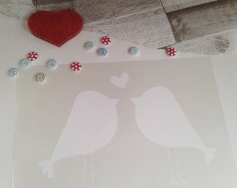 Love birds stencil wedding craft silhouette Girls bedroom nursery airbrush painting fabric paint decorating DIY Playroom furniture 'offer'