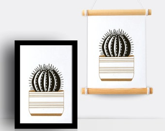 Cactus gold & black print (spikey pot, A5 risograph)