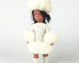 Mid Century Adorable Little Eskimo Doll in White Fur Outfit from the 1960's
