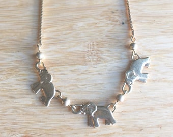 Vintage 14k Yellow Gold Elephant Chain Link Bracelet ~ Fine Gold Jewelry