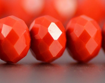 Chinese Crystal Rondelles in Opaque Bright Tangerine Orange 8x10mm