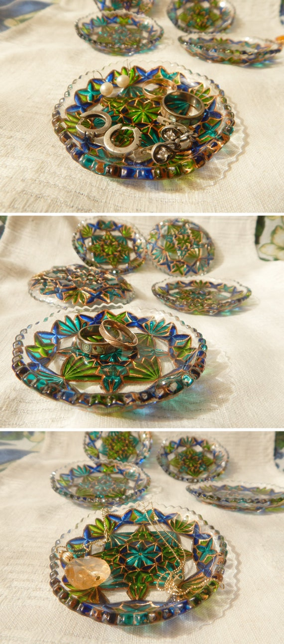 Wedding Gift Glass Painting : Stained GLASS PLATE, wedding ring dish, jewelry tray, hand painted ...