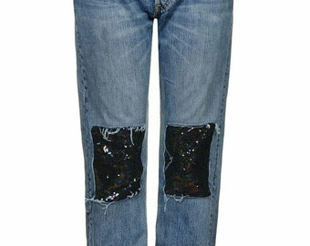 Sequin Patchwork denim women's jeans Up cycle your clothes