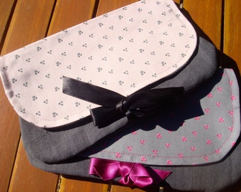Pouch or package for women in linen grey and fuchsia cherry or cherry black grey linen