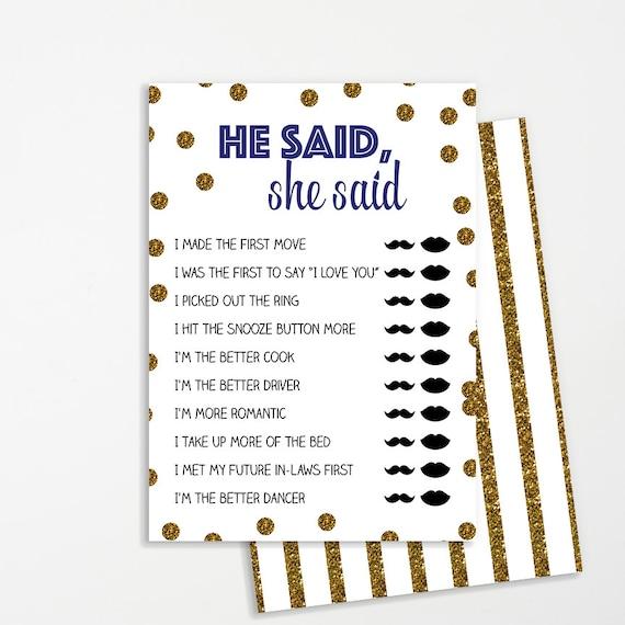 He Said She Said Shower Game Printable INSTANT DOWNLOAD