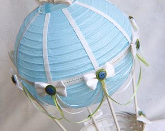 Hot Air Balloon Baby Shower Centerpiece - BLUE/IVORY/GREEN / Hot Air Balloon Party Decorations / hot air balloon party supplies