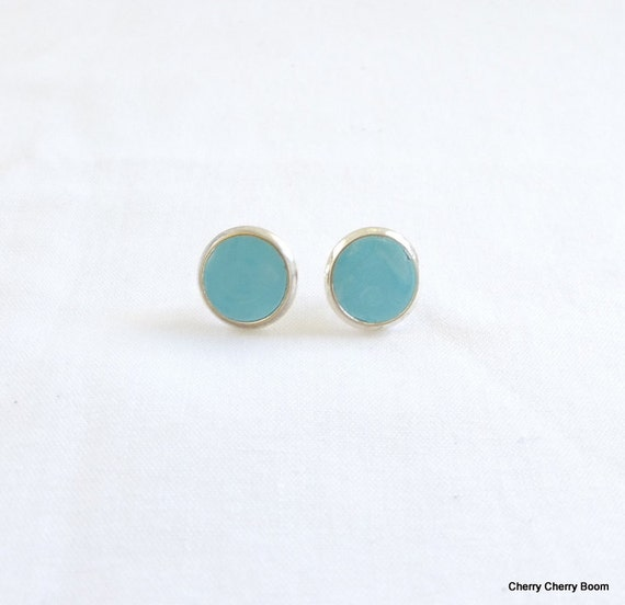 Turquoise studs, studs, earrings, jewellery, polymer studs, clay earrings, turquoise, everyday, fimo, clay, small, simple, silver, handmade
