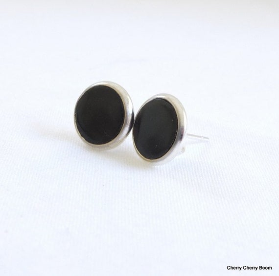 Black earrings, studs, earrings, jewellery, polymer clay, clay earrings, black, simple, classic, fimo, clay, small, silver, handmade, gift