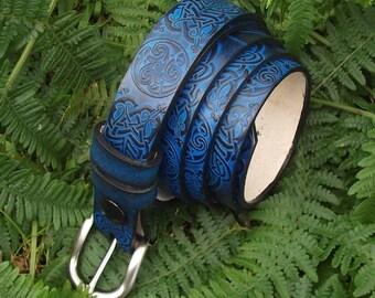 """Leather belt 2,5 cm wide, celtic design ,couleur """"bleu océan""""(16 colors to choose)"""