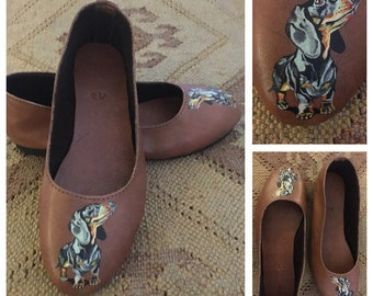 Dog lover portrait Ballet pumps - Flat shoes -painted  handmade leather Dachshund doxie lover gift