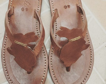 Rabbit sandals - Bunny  flip flops - handmade leather shoes