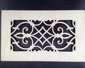 Decorative vent cover, HVAC register, Laser cut maple veneer