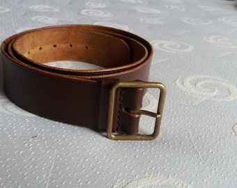 Vintage 1974's Swiss Army Dark Brown Leather Officer's Belt - NEW