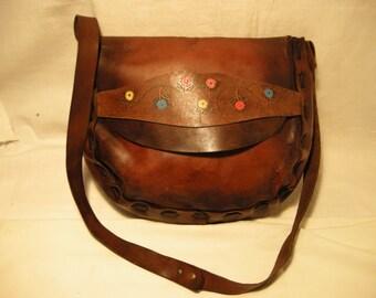 Vintage 1970's Handmade Dark Brown Leather Handbag - Shoulder Bag