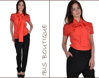 "Elegant woman shirt ""Classics"" / Orange office blouse / Puffed Sleeve Shirt/ Romantic blouse/ Romantic shirt/ Office clothes/ Formal blouse"