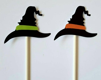 Witch hat cupcake toppers - set of 12, Halloween centerpiece, Halloween cake topper, Halloween party