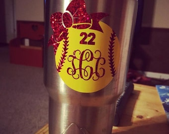 Softball  Bow personalized Decal