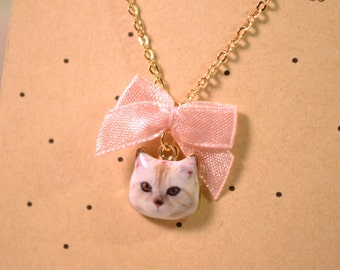 Cat cute necklace with linen cotton drawstring bag