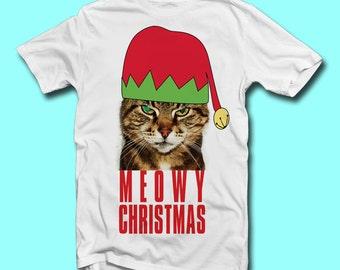 Boys Meowy CHRISTMAS T-Shirt 1-11 Years Kids