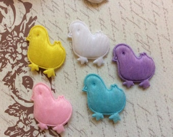 SET of 20 Padded Furry Felt Chicken Appliques for Easter/hair bow/ trim/ embellishments/scrapbooking/white/yellow/pink/blue/purple