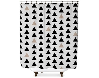 Black and tan triangle geometric shower curtain