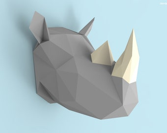 Rhino Head Papercraft PDF Pack - 3D Paper Sculpture Template with Instructions - DIY Wall Decoration - Animal Trophy