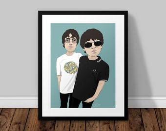 Liam and Noel Oasis Illustrated Poster Print | A6 A5 A4 A3