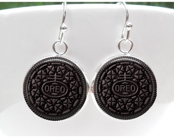 Oreo Earrings - Oreo Cookie Earrings - Gift for Oreo Lover -Sterling Silver Posts - Sterling Silver French Hooks