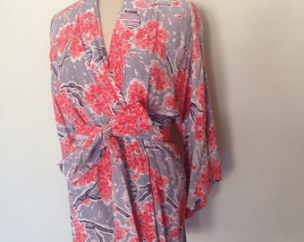 1940's Coral Floral and Gray Lounge Set