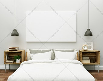 Poster Frame Photography Style / Bedroom Wall Mockup / Wall Art Mockup/ Canvas Mockup / poster  mockup / Interior Wall art Mockup /