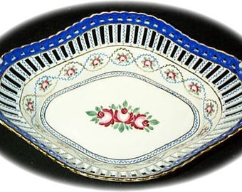 Hand Painted Open Work Two Handeled large Oval Bowl