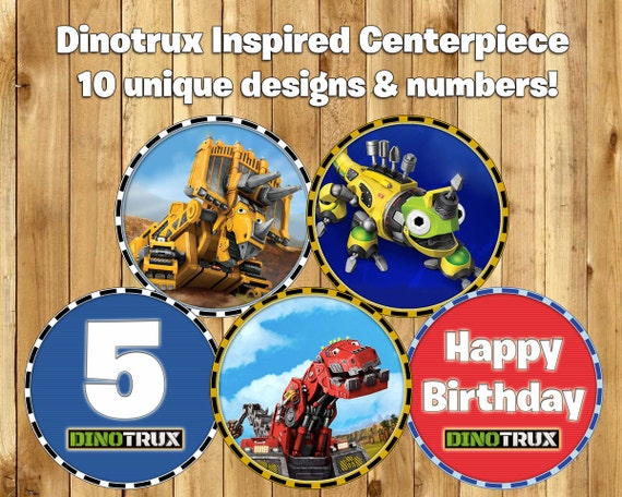 DIY Dinotrux Inspired Centerpiece includes 10 Unique Designs & Numbers Instant Download Print Cut Dinotrux Centerpiece Decoration, Print Cut