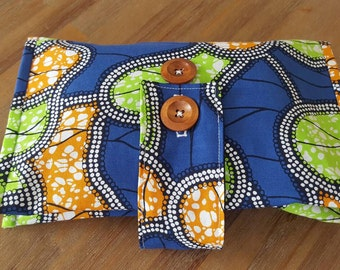 Nappy Wallet,Handmade,Nappy and Wipes, Diaper, Blue,Green,Orange, African Dot, A H Baby Boutique, Nappy Clutch, Purse