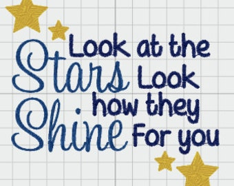 Look At The Stars , Coldplay Lyrics, Embroidery Design JEF PES & More