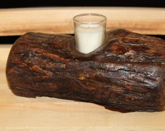 Log Votive Holder, Black Walnut Votive Candle Holder, Log Home Cabin Lodge  Northwoods Woodland