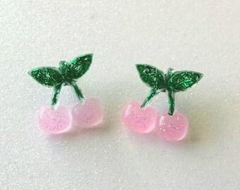 Pink Cherries Resin Stud Earrings