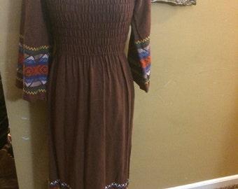 1960 peasant sz M dress/maxi dress/hippie dress/boho/festival/free people like dress
