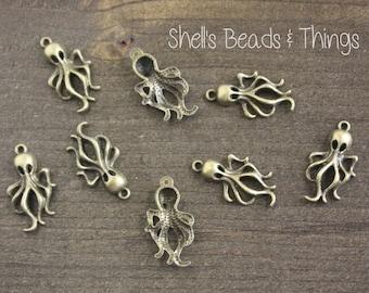 Antique Bronze Octopus, Metal Octopus, Squid Charm, Squid Pendant, Octopus Charm, Octopus Pendant, Jewelry Making Supply