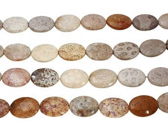 15 IN Strand 25x35 mm Fossil Coral Oval Gemstone Beads (FSCALV2535)