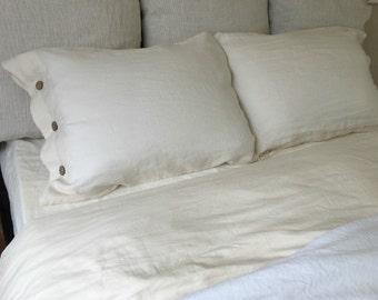Cream Linen Duvet Cover with Wood Button Closure, Washed linen, Soft linen, Neutral color, queen duvet cover, king duvet cover,linen bedding