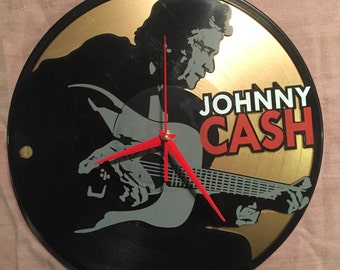 "Johnny Cash clock upcycled from a 12"" vinyl record"