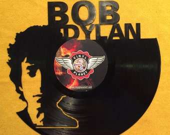 "Bob Dylan vinyl record wall art - upcycled from an original 12"" vinyl record"