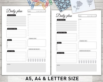 Daily Planner Printable, Daily To Do List, Day Organizer, Daily Schedule, Desk Planner, Planner Pages, A5, Letter & A4 Size