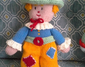 Knitted toy . Bertie the clown.