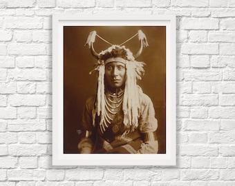 Native American Photography - Head Carry - Edward Curtis - Indian Headdress - Edward Curtis Photography - Native American Art
