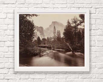 Yosemite - Yosemite Valley - Half Dome - Carleton Watkins - Black and White - Landscape Photograph - Fine Art Photograph - Park