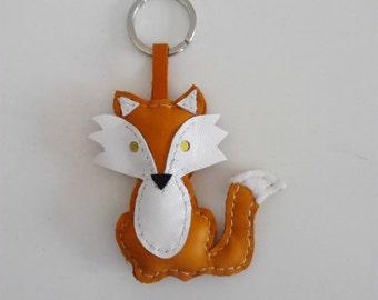 Cute Keychains, Fox Leather Keychain, Keychain Rings, Leather Charm