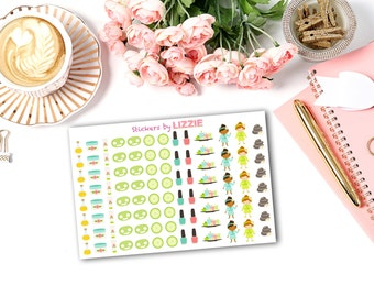 Beauty Spa Day planner stickers for Erin Condren Life Planner, Kikki-k, Filifax, plum paper and more