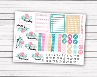 Sea Shell add-on stickers || Erin Condren planner vertical layout